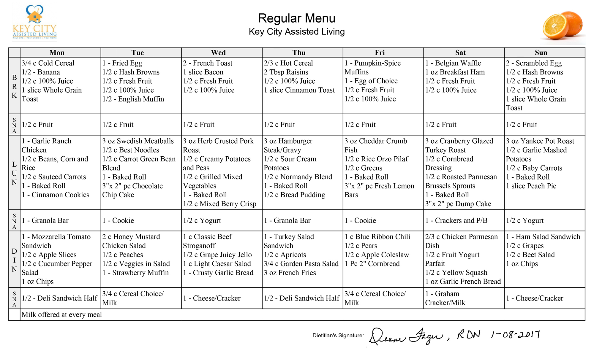 Sturgis' Key City Assisted Living - South Dakota - retirement community - residential care - regular menu sample - meals