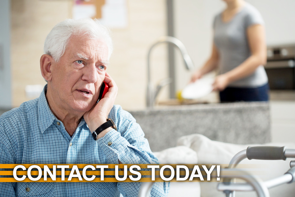 key city assisted living senior talking on the phone contact us today now